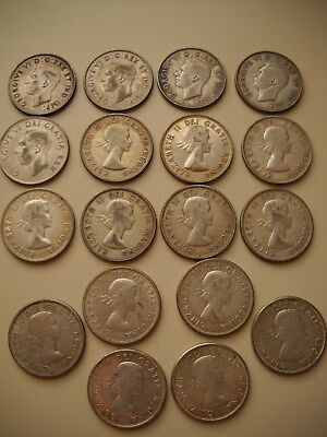 (18) Canada 50C lot - 1940's,50's,60's - Ungraded, Uncertified, Circulated Cond