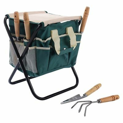 Exceptionnel 7 Pieces Home Garden Tool Set W/Folding Storage Stool Gardening Tools Bag