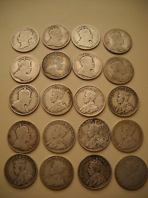 (20)Canada 25c Lot - 1900 - 1920 - Ungraded, Uncertified, Circulated Condition