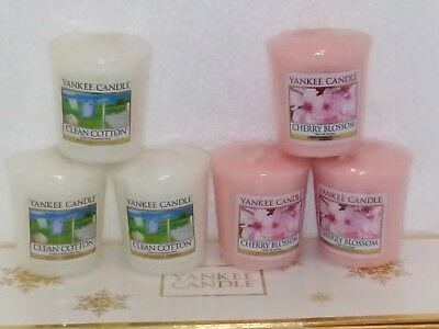 Yankee Candle Samplers Candele Votive Clean Cotton/ Cherry Blossom 6 Pezzi