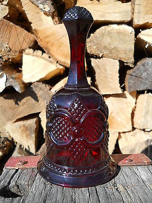 Avon Cape Cod 1876 Collectible Bell Ruby Red Pressed Sandwich Glass Style