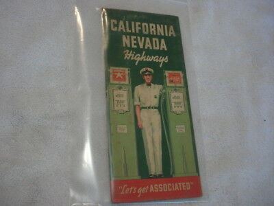 1930s Flying A - Associated Road Map of California & Nevada - vintage Gas Pumps