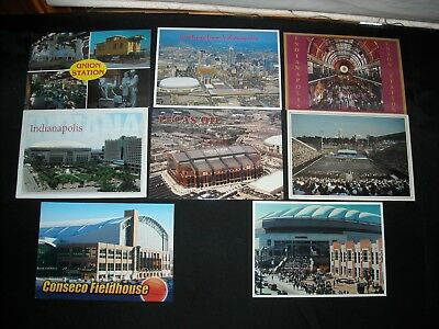 Indianapolis Vintage Postcard Lot OF 8 Lucas Oil Union Station Skyline+ Unposted