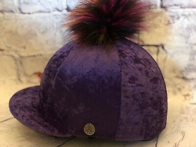 Luxury Crushed Velvet Faux Fur Pompom Riding Hat Silk Cover Equestrian Purple