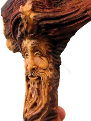 Wood Spirit Carving Knot Head Forest Face Sculpture Folk Art Tree Hobbit