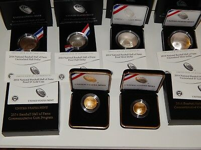 2014 Us Mint Baseball Hall Of Fame 1/4 Oz Gold & 1 Oz Silver & Clad Sets 6 Coins