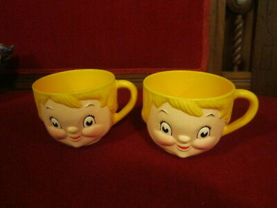 Pair of Vintage Campbell's Soup Dolly Dingle Kids Plastic Soup Cups