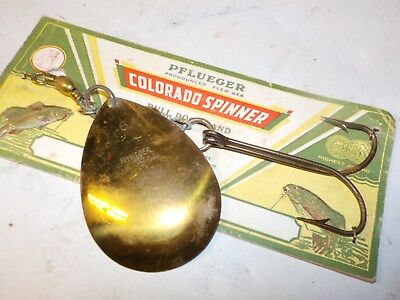 Vintage Pflueger Colorado Spinner Large 6/0 Brass Blade NOS Card Bull Dog USA