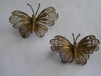 Vintage 800 Silver Gilt Pair of Filigree Butterflys Pin and Pendant/Slide