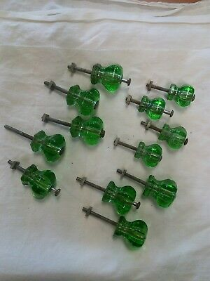 "Lot Vintage Antique Green Colored Glass Drawer Knobs: 8 - 1 1/4"" & 4 - 1"""