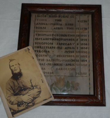 Antique Reed Family Sampler & Civil War Soldier Photo Found Together Needlework