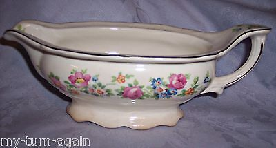 Antique Circa 1935 Knowles China Pink Roses Flowers Pattern Gravy Boat