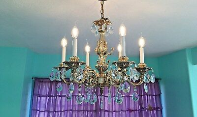 "Gold 6 Arm and Light Vintage DesignArt Crystal Chandelier 23.0"" D x 27.0"" H adj."
