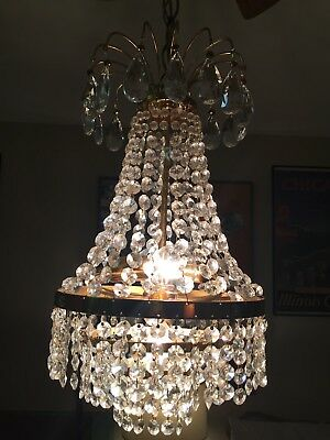 Antique Vintage Bronze & Czech Crystal Prism Basket Chandelier Hanging Lamp Swag