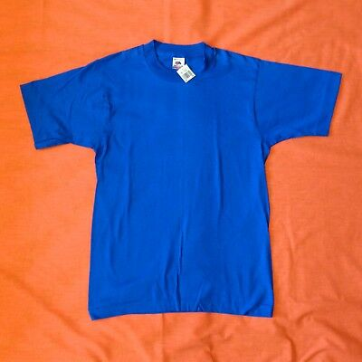 FRUIT OF THE LOOM VINTAGE 90s Blue Plain BLANK T-Shirt NEW Boys Size 18/20 Tag