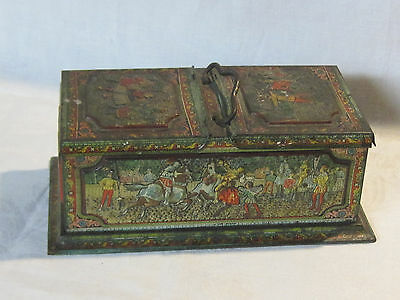 Antique Huntley & Palmers English biscuit tin Medieval Renaissance knights