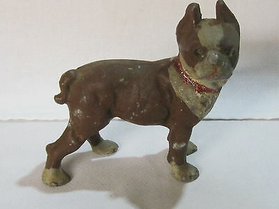 Antique cast iron miniature boxer or Boston terrier figure, very unusual size