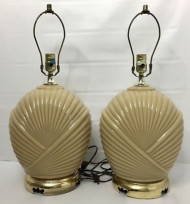 Vintage Pair Of Table Lamps Taupe Ceramic Brass Base, with Harps, probably 1980s