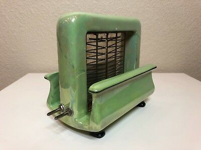 "Pan Electric Toastrite Antique Ceramic Onyxide Toaster ""Apple Green"" 1927"