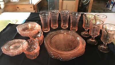 Federal-Indiana Madrid Pink Recollection Dishes-Service for 4. Perfect condition