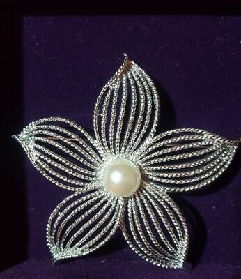 """Vintage Brooch, 1967 Sarah Coventry Brooch, Silver Tone Large """" Moon Flower """""""