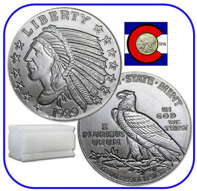 Incuse Indian Silver Bullion -- Tube of 1/4 oz Silver Rounds -- 20 Coin Roll