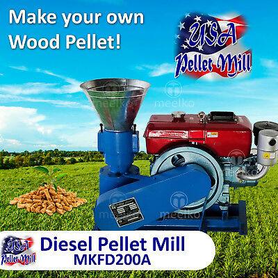 Diesel Pellet Mill For Wood - MKFD200A - Free Shipping