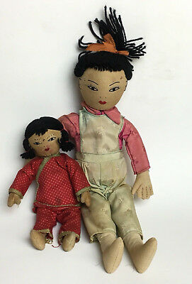 2 Ada Lum Chinese Cloth Dolls c.1950s - Handmade - Hon Kong - Collectible