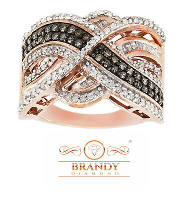 Brandy Diamond® Chocolate Brown 14K Rose Gold Silver Wave Queen Bee Ring .80 C