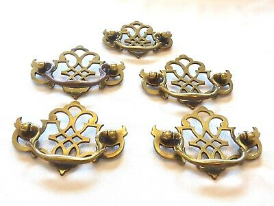 5 Vintage Chippendale Style Bat Wing Drawer Pulls w/ Bail Keeler Brass Company