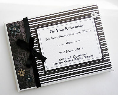Personalised Monochrome Retirement/wedding/gift Guest Book - Any Colour