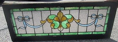"Antique Stained Glass 45"" Long Transom Window W/ 2 Jewels Arts & Crafts # 640"
