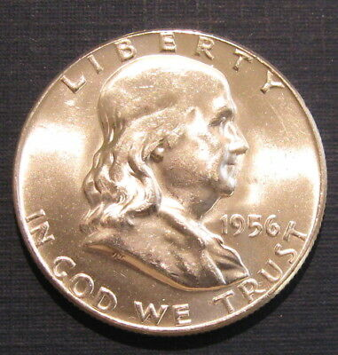 Bu 1956 Franklin Silver Half Dollar, Uncirculated
