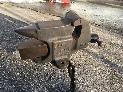"Vintage Antique Rock Island 231 3"" 28 lb Anvil Vise Rare Early Blacksmith 1914"