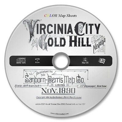 Virginia City-Gold Hill Nevada 13 Color Sanborn Maps Sheets Year 1890 on New CD
