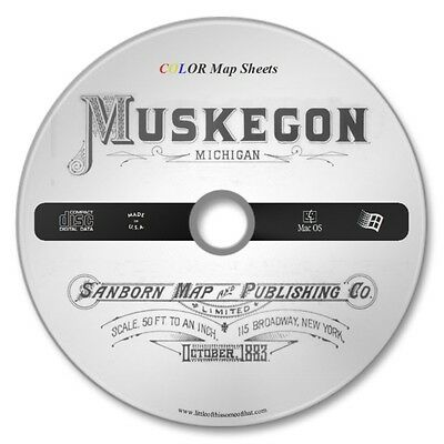 Muskegon, Michigan 32 Color Sanborn Map Sheets on New CD Year 1883 FREE Shipping