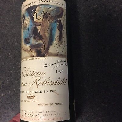 Chateau Mouton Rothschild 1973 Wine Bottle and Label  en homage a Picasso