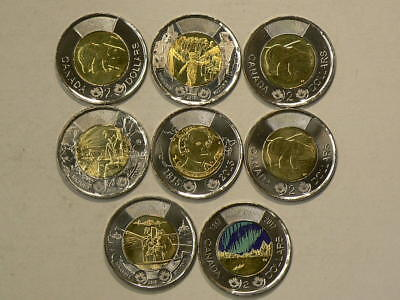 2014 to 2017Canada $2 Toonies Lot of 8 Uncirculated Coins No Duplicates  #G9007