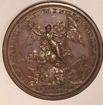 Dated 1874  Louis XIV  Victory Battle Of Seneffe  Mauger Medal Bronze 41mm