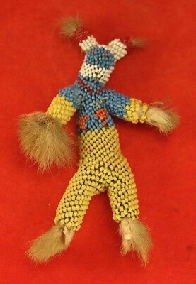 Native American Beaded Doll with Fur Hands & Feet - Zuni