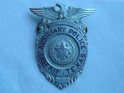Antique Lufkin Texas Auxiliary Police Chrome Eagle Top Style Hat Badge