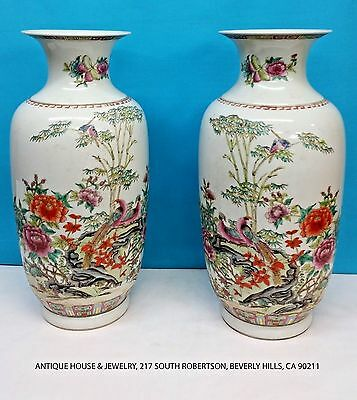 Antique Pair Of Chinese Porcelain Vase, Signed