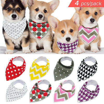 4pcs/pack Soft Bandana Dog Collars Pet Cat Puppy Scarf Neckerchief Adjustable