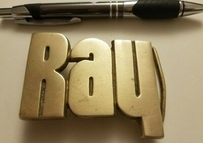* Ray * HEAVY CUT OUT SOLID BRASS NAME BELT BUCKLE VINTAGE 1970's 3D DECO NOS