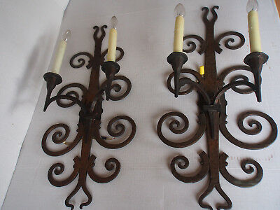 2 Vtg Hand Wrought Wall Electric Candles Sconces Spanish Gothic Castle Medieval
