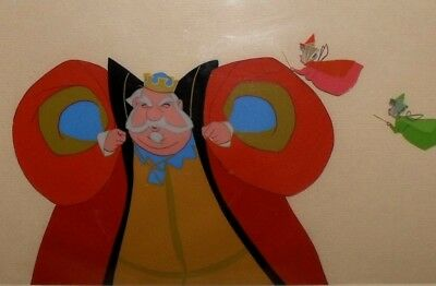 Disney Sleeping Beauty Hand-Painted Celluloid Drawing King Hubert, Flora & Fauna
