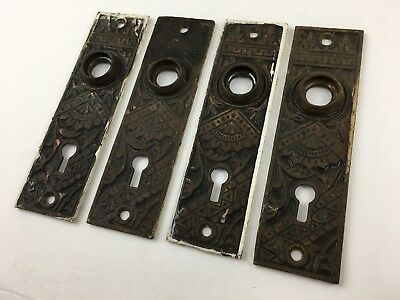 2 pair Antique Bronze Deco Victorian Door Knob Back Plate Escutcheon 5.25 inch