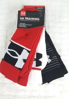 New  3 X Pairs Under Armour Youth Boy Red Black Crew Socks Sz Ylg (4Y-8Y)