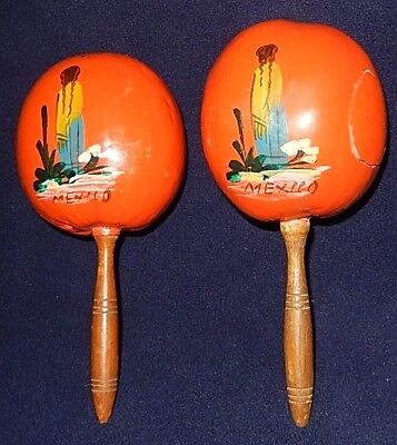 Vintage Pair of Vintage Orange Wooden Maracas Made in Mexico - Hand Painted