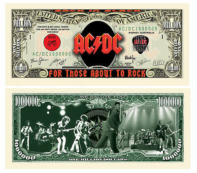 AC/DC acdc One Million Dollar Bill Note $1000000 BUY 2 GET 1 FREE